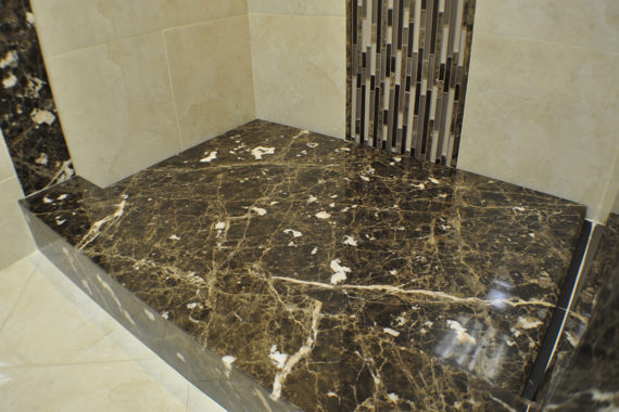 Emperor Dark Marble Shower Waterfall Hiden Drain